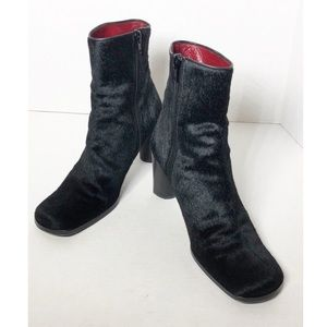 Kenneth Cole pony black leather boots Italy 38/8
